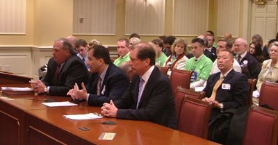 Donald Fry (left); Larry Fiorino; Drew Krimski testify before Senate Budget & Taxation Committee