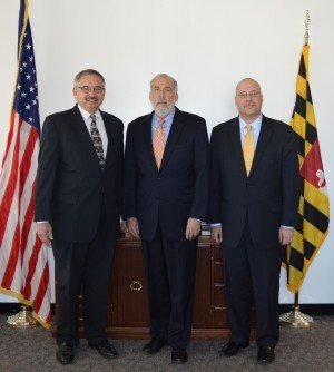 Pictured are Thomas Phelan, President and CEO of Chesapeake Employers Insurance; Health and Mental Hygiene Secretary Van T. Mitchell; and Carmine D'Alessandro, Vice President of Legal Services for Chesapeake Employers Insurance.