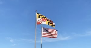 Maryland and U.S. flags